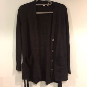 Anthropologie Long Black Cardigan Thick Fabric